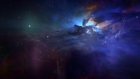 Animación de la paralaje de las nubes y de las estrellas de polvo de la rotación stock de ilustración