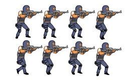 Animación de la policía que camina Imagenes de archivo