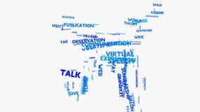 Animación de la tipografía de la nube de la palabra del concepto del discurso del lenguaje de comunicación del mundo almacen de video
