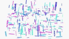 Animación de la tipografía de la nube de la palabra del ejercicio de la salud de la aptitud Foto de archivo libre de regalías