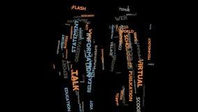 Animación de la tipografía de la nube de la palabra del márketing de la comunicación de la lengua de la información Fotos de archivo libres de regalías