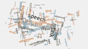 Animación de la tipografía del texto de la nube de la palabra del concepto del discurso del lenguaje de comunicación de los E.E.U almacen de metraje de vídeo
