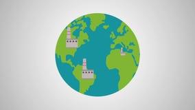 Animación de las fábricas en todo el mundo HD ilustración del vector