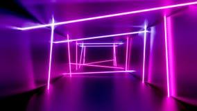 animación de las luces de neón del túnel del extracto de 3D 4k stock de ilustración