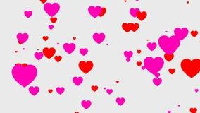 Animación de las partículas de los corazones, vídeo con el fondo transparente ilustración del vector