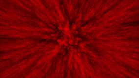 Animación de las partículas rojas 3D en fondo, la explosión de polvo y el cierre negros encima de la visión