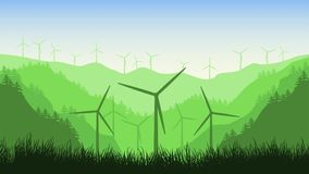 Animación de las turbinas de viento 2.a en un fondo de las montañas en el parque eólico del bosque A en un paisaje hermoso ilustración del vector