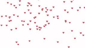 Animación de Loopable que levanta rápidamente rosa como corazones de los iconos en el fondo blanco stock de ilustración