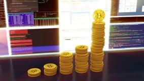 Animación de los bitcoins de la explotación minera, brillo rojo, lazo ilustración del vector