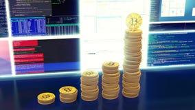 Animación de los bitcoins de la explotación minera, rayos ligeros azules, lazo ilustración del vector