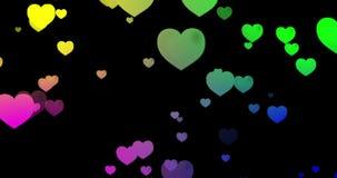 Animación de los corazones Los colores vibrantes, colocan listo en un fondo negro libre illustration