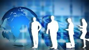 Animación de los hombres de negocios de las siluetas con el planeta en el fondo stock de ilustración