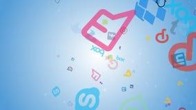 Animación de los iconos sociales de los medios apearing en fondo azul y que vuelan rápidamente al top de composición