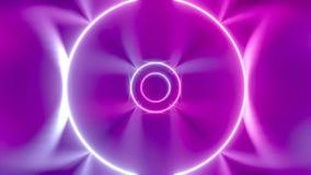 animación de neón del túnel del extracto de 3D 4k - círculos móviles stock de ilustración