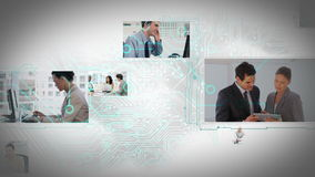 Animación de pantallas móviles con diversas situaciones de negocio almacen de metraje de vídeo