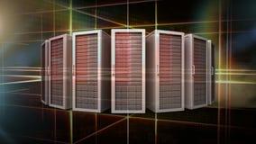 Animación de servidores digitales contra fondo abstracto ilustración del vector
