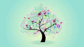 Animación de un árbol de los niños que crece con los juguetes en las ramas tales como coche modelo, bola, muñeca colorida (y coch stock de ilustración