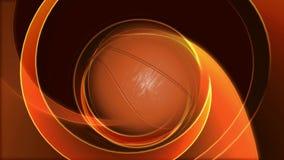 Animación de un baloncesto que hace girar en un fondo abstracto de oro ilustración del vector