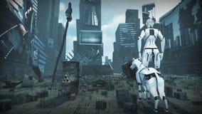 Animación de una mujer y de un perro artificiales en ciudad arruinada del fi del sci representación 3d stock de ilustración