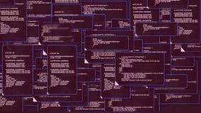 Animación del código fuente de la carpeta de las ventanas de demostración de la pantalla de monitor de computadora y de la advert