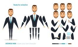 Animación del carácter del hombre de negocios Imagen de archivo