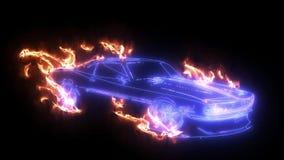 Animación del coche de Digitaces con las llamas almacen de video