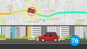 Animación del coche de la historieta del transporte que viaja al destino por GPS por satélite en fondo del gráfico del movimiento stock de ilustración