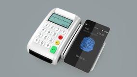 Animación del concepto móvil cashless del pago por el teléfono elegante ilustración del vector