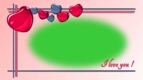 Animación del corazón - capítulo de la foto - amor, saludos de día de San Valentín - pantalla verde ilustración del vector