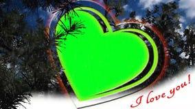Animación del corazón - capítulo de la foto - amor, saludos de día de San Valentín - pantalla verde stock de ilustración