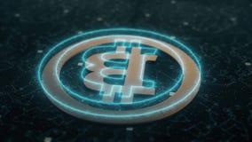 Animación del cryptocurrency de Bitcoin ilustración del vector