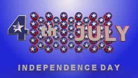 Animación del Día de la Independencia en fondo azul ilustración del vector