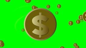 Animación del dólar, moneda de oro con el símbolo americano del dólar, elipses ardientes alrededor de la moneda, volando otras mo stock de ilustración