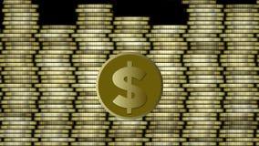 Animación del dólar, moneda de oro con el símbolo americano del dólar que mueve encendido el fondo integrado por columnas de oro  libre illustration