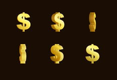 Animación del efecto de la hoja de Sprite de una muestra de dólar de oro de giro Fotografía de archivo libre de regalías