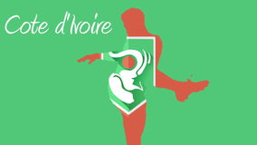 Animación del fútbol de Costa de Marfil con el jugador y la cresta stock de ilustración
