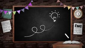 Animación del fondo creativo de la pizarra de la escuela Pizarra de la escuela con diseño interior de la sala de clase ilustración del vector