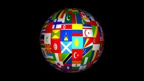 animación del globo de la bandera del mundo 3d ilustración del vector
