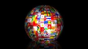 animación del globo de la bandera del mundo 3d libre illustration