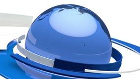 Animación del globo de la tierra (mundo de cristal azul 3D) ilustración del vector