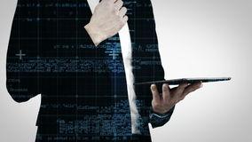 Animación del hombre de negocios que celebra una tableta metrajes