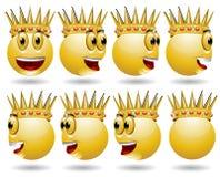 Animación del icono del Web de la sonrisa del rey Fotos de archivo