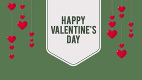 Animación del impulso del corazón de la caída para el día de San Valentín feliz de saludo
