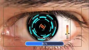 Animación del interfaz de la tecnología de la exploración del ojo humano Interfaz digital futurista metrajes