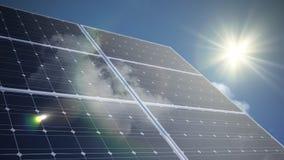 Animación del lapso de tiempo de los paneles solares fotovoltaicos metrajes