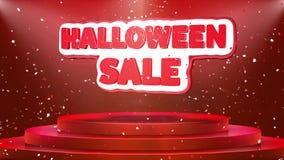 Animación del lazo del confeti del podio de la etapa de la animación del texto de la venta de Halloween stock de ilustración