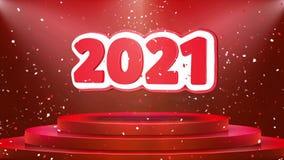 Animación del lazo del confeti del podio de la etapa de la animación de 2021 textos stock de ilustración