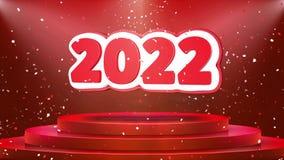 Animación del lazo del confeti del podio de la etapa de la animación de 2022 textos ilustración del vector