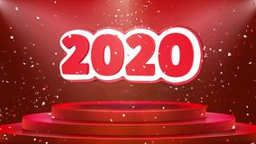 Animación del lazo del confeti del podio de la etapa de la animación de 2020 textos stock de ilustración