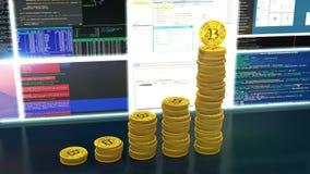 Animación del lazo de los cryptocurrencies de los bitcoins de la explotación minera ilustración del vector